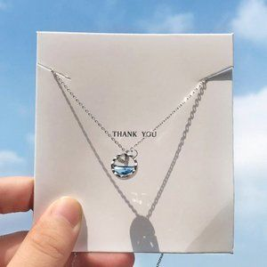 NEW 925 Sterling Silver Mermaid Ocean Necklace